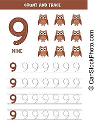 Worksheet for learning numbers with cute owls. Number nine.