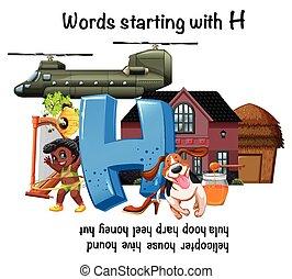 worksheet, h, começar, palavras, inglês