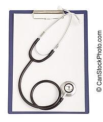 worksheet, isolerat, papper, bakgrund, tom, vit, stetoskop