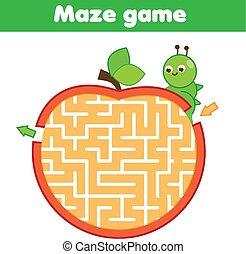 worksheet, lagarta, game., kids., tema, apple., atividade, labirinto, crianças, ir, educacional, ajuda, puzzle., através, insetos