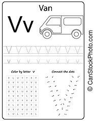 worksheet., levél, feladat, kids., letter., irodalomtudomány, v., abc, tanulás