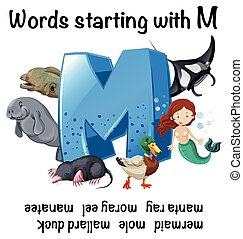 worksheet, m, começar, palavras, inglês