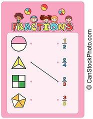 worksheet, math, fractions