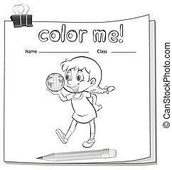 worksheet, menina, coloração