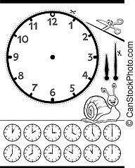 worksheet, oświatowy, dzieciaki, twarz, zegar