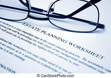 worksheet, planerande, egendom