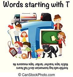 worksheet, startend, t, woorden, engelse
