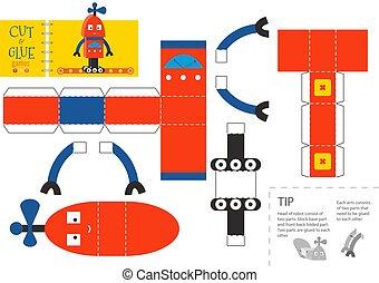worksheet., vecteur, coupure, robot, colle, jouet, ...