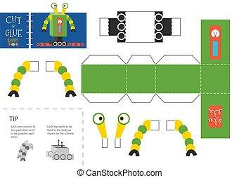 worksheet., vecteur, coupure, robot, colle, jouet, illustration