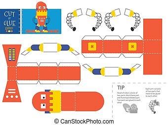 worksheet., vector, corte, robot, pegamento, juguete, ilustración