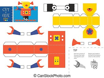 worksheet., vector, corte, robot, pegamento, juguete, ...