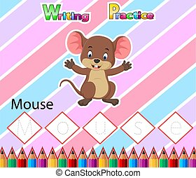 Worksheet Writing practice alphabet M for Mouse