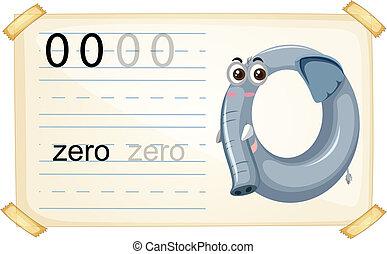 worksheet, zero, liczba, słoń