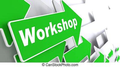 workshop., ügy, concept.