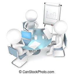 3D little human characters X3 working together. Business People series.