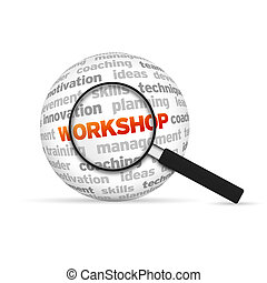 Workshop 3d Word Sphere with magnifying glass on white...