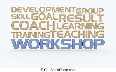 Workshop as collage - Workshop Concept words white...