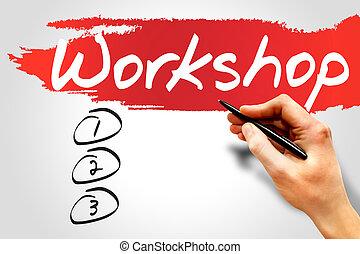 Workshop blank list, business concept