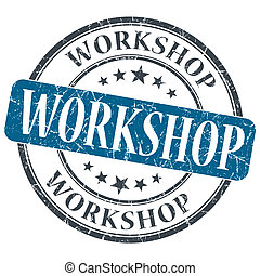 Workshop blue grunge textured vintage isolated stamp