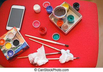 workshop, brushes., set, kunst, verven