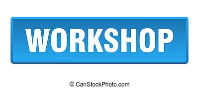 workshop button. workshop square blue push button