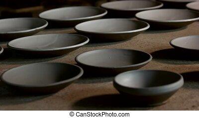 workshop., céramique, table, fait main, plaques