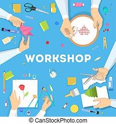 Workshop concept. Idea of education and creativity. Creative...