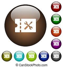 Workshop discount coupon color glass buttons