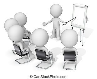 Dude the Business people X 6 at meeting. Looking at blank flip chart. Copy space.