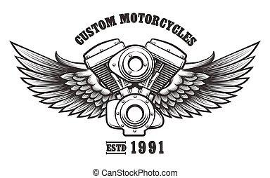 workshop, embleem, motorfiets, gewoonte