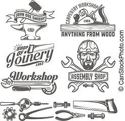workshop emblem - Logos with working tools. Emblems...