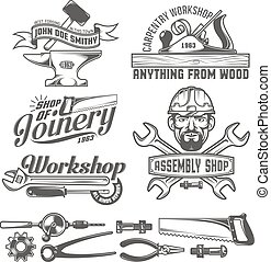 Logos with working tools. Emblems carpentry workshop, forge, assembly shop. Worker tools. Text on a separate layer - easy to replace.