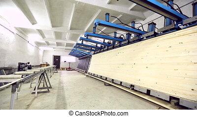 Workshop for production of edge-glued panels