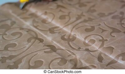 Workshop for the manufacture of leather products, the master...