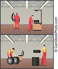 Workshop for Tyres Servicing Vector Illustration - Workshop...
