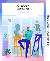 workshop, gebeeldhouwd kunstwerk, illustratie