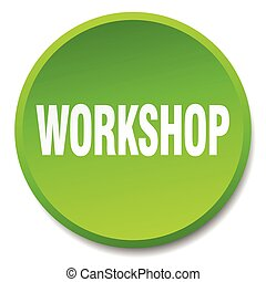 workshop green round flat isolated push button