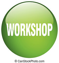 workshop green round gel isolated push button