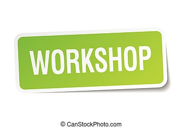 workshop green square sticker on white background