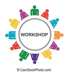 workshop, illustratie, pictogram