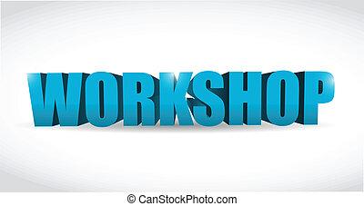 workshop illustration design over a white background