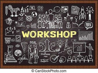 Workshop - Doodle about workshop on chalkboard