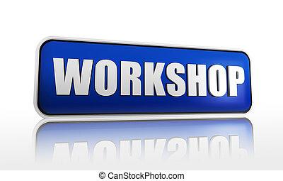 workshop in blue banner