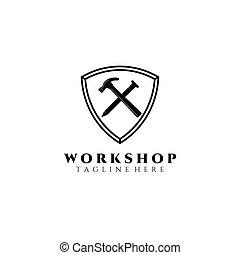 workshop logo vector illustration design