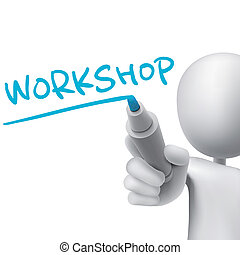 workshop, man, 3d, woord, geschreven
