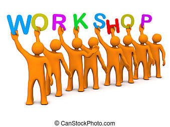 Workshop Manikins - Orange cartoon characters with colorful...