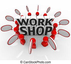 workshop, mensen, groep, het bespreken, idee, klesten