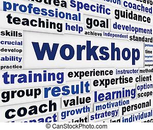 Workshop poster design. Professional seminar message ...