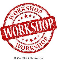 workshop, rood, ronde, grungy, ouderwetse , rubberstempel