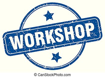 workshop round grunge isolated stamp